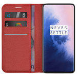 Leather Wallet Case & Card Holder Pouch for OnePlus 7 Pro - Red
